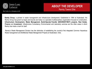 ABOUT THE DEVELOPER Ramky Towers Elite