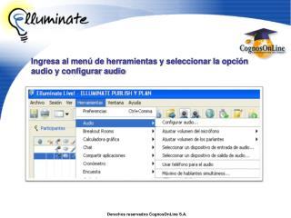 Ingresa al menú de herramientas y seleccionar la opción audio y configurar audio