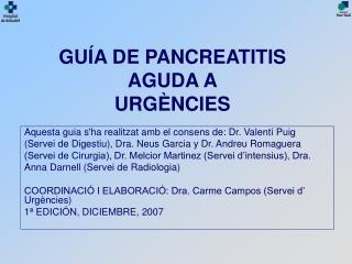 GUÍA DE PANCREATITIS  AGUDA A URGÈNCIES