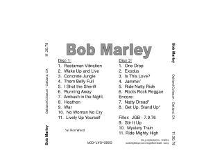 Bob Marley            Oakland Coliseum - Oakland, CA               11.30.79