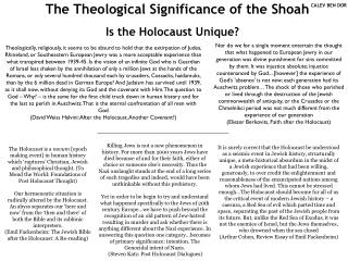The Theological Significance of the Shoah