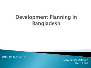 Development Planning in Bangladesh