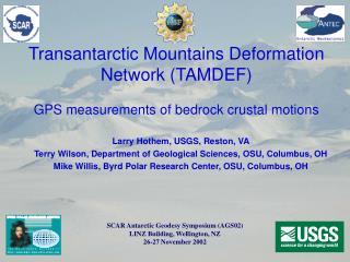 Transantarctic Mountains Deformation Network (TAMDEF) GPS measurements of bedrock crustal motions