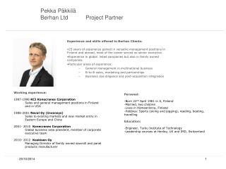 Pekka Päkkilä Berhan LtdProject Partner