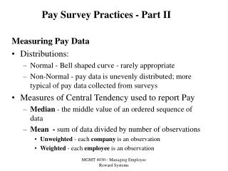 Pay Survey Practices - Part II