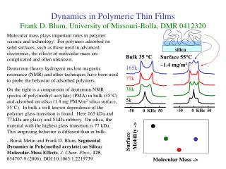 Dynamics in Polymeric Thin Films Frank D. Blum, University of Missouri-Rolla, DMR 0412320