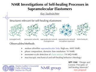 NMR Investigations of Self-healing Processes in Supramolecular Elastomers Kay Saalwächter
