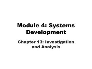 Module 4: Systems Development