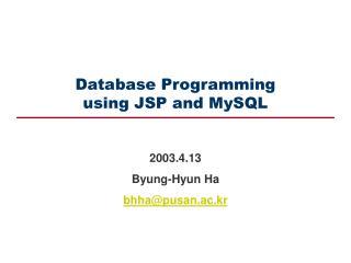 Database Programming using JSP and MySQL