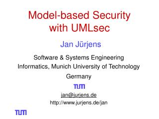 Model-based Security  with UMLsec