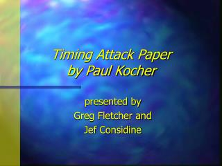 Timing Attack Paper by Paul Kocher