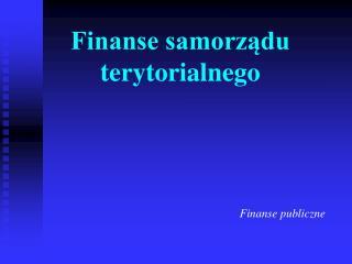 Finanse samorządu terytorialnego