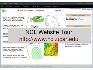 NCL Website Tour ncl.ucar