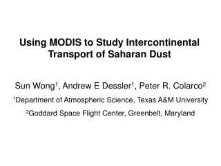 Using MODIS to Study Intercontinental Transport of Saharan Dust