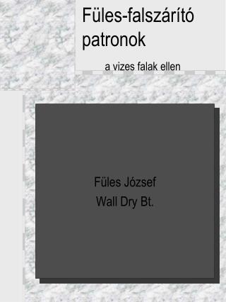 Füles-falszárító patronok a vizes falak ellen