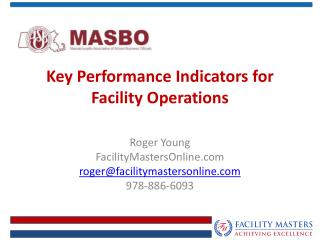 Key Performance Indicators for Facility Operations