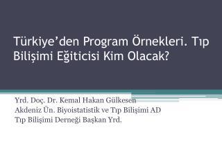 Türkiye'den Program Örnekleri. Tıp Bilişimi Eğiticisi Kim Olacak?