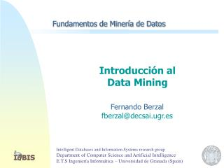 Fundamentos de Minería de Datos