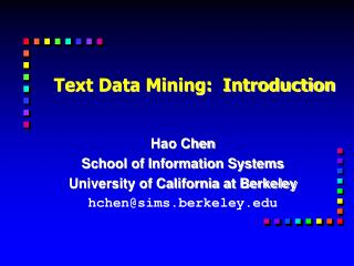 Text Data Mining:  Introduction