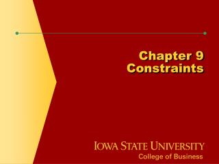 Chapter 9 Constraints