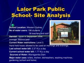 Lalor Park Public School- Site Analysis