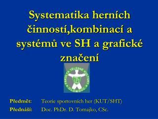 Systematika herních činností,kombinací a systémů ve SH a grafické značení