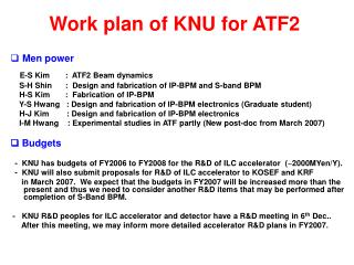 Work plan of KNU for ATF2