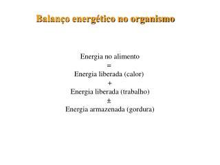 Balanço energético no organismo