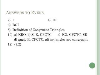 Answers to Evens