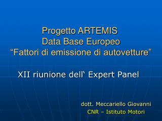"""Progetto ARTEMIS   Data Base Europeo   """"Fattori di emissione di autovetture"""""""