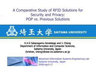 A Comparative Study of RFID Solutions for  Security and Privacy: POP vs. Previous Solutions