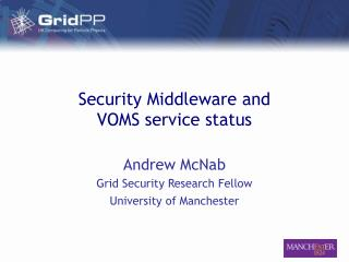 Security Middleware and VOMS service status