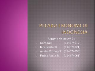 Pelaku ekonomi di indonesia