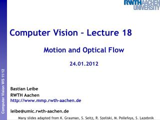 Computer Vision � Lecture 18