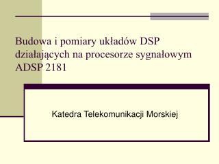 Budowa i pomiary uk?ad�w DSP dzia?aj?cych na procesorze sygna?owym ADSP 2181