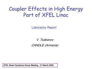 Coupler Effects in High Energy Part of XFEL Linac