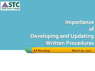 Importance  of  Developing and Updating Written Procedures