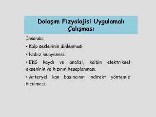 Dolaşım Fizyolojisi Uygulamalı Çalışması