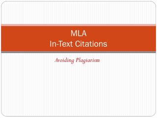 MLA  In-Text Citations