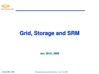 Grid, Storage and SRM Jan. 29-31, 2008