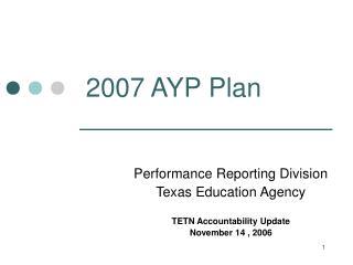 2007 AYP Plan