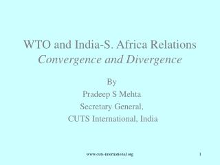 WTO and India-S. Africa Relations  Convergence and Divergence