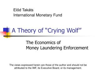 A Theory of  Crying Wolf