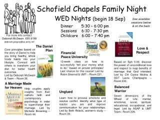 Schofield Chapels Family Night WED Nights  (begin 18 Sep)