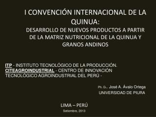LIMA – PERÚ Setiembre, 2013