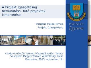 A Projekt  Igazgatóság bemutatása, futó projektek ismertetése