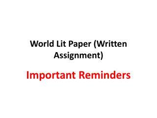 World Lit Paper (Written Assignment)
