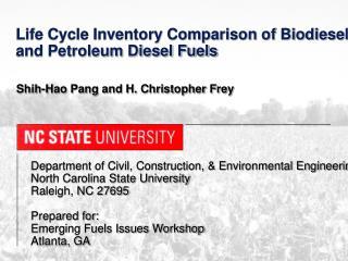 Department of Civil, Construction, & Environmental Engineering  North Carolina State University