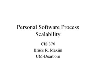 Personal Software Process Scalability
