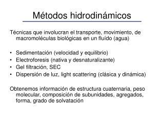Métodos hidrodinámicos
